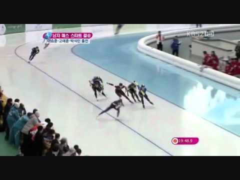 Korean speed skater incredibly fast, 35 laps (14000m)