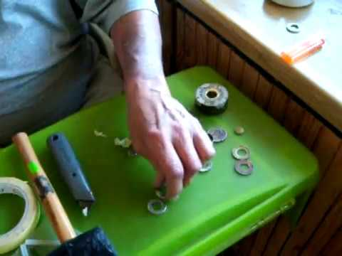 How to punch a hole in a coin for ring making the easy way!