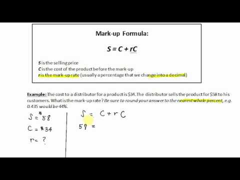 Mark-up: Finding the Mark-up Rate