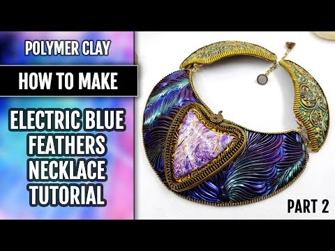 FREE  Video Tutorial. Part 2. Electric Blue Feathers Necklace making Tutorial.