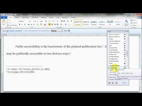 How to change footnote font in Word