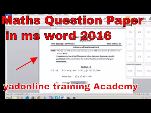 How To Create Maths question Paper in ms word 2016