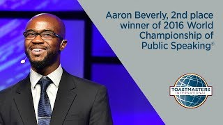 Aaron Beverly, 2nd place winner of 2016 World Championship of Public Speaking