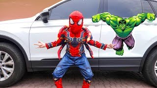 Eli becomes a Superheroes in Kids car story