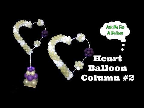 Heart Balloon Column #2 - Lighted Balloon Decoration