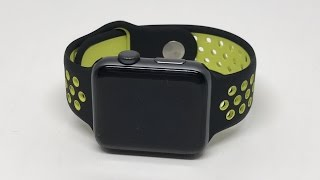 7126596b6033a9 Apple Watch Black Volt Nike Sport Band Clone