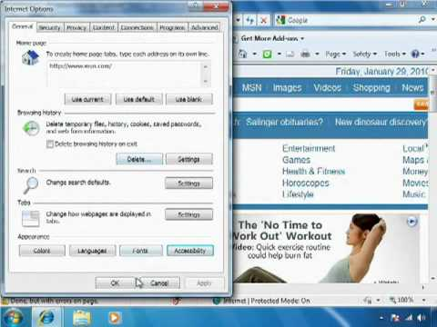 Personalizing Internet Explorer 8: Font Settings