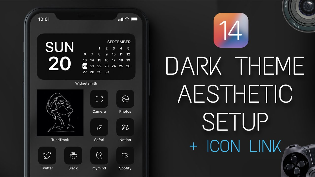 The Best iOS 14 Home Screen Setup   Dark Aesthetic Theme + Icon Link & Free Wallpaper