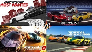 Need For Speed Most Wanted vs Asphalt 9 vs Asphalt 8 vs Real Racing 3 GAMEPLAY! Max Settings