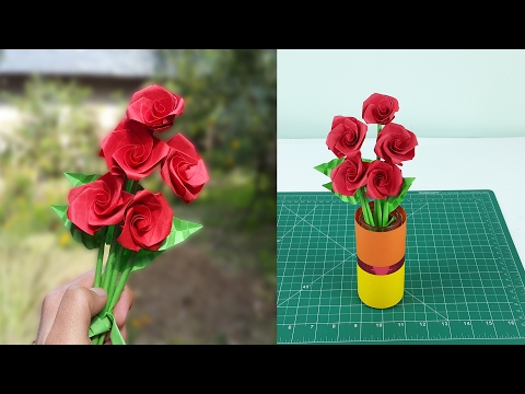 How to make realistic paper roses with leaves and stem - Easy step by step instructions.