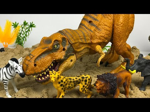 KINETIC SAND SURPRISES FOUND BY DINOSAUR T-REX WITH WILD ANIMALS CHEETAH RHINO LION ELEPHANT & ZEBRA
