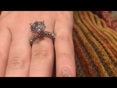 Round High Quality Cubic Zirconia  Solid Platinum Engagement Ring Eternity
