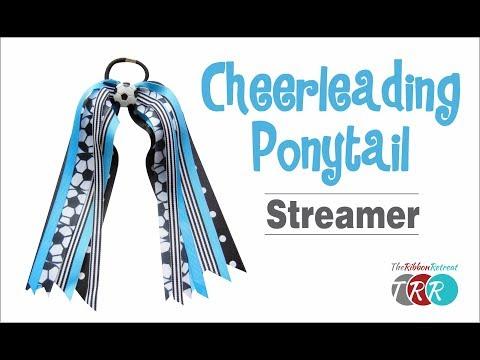 How to Make a Cheerleading Ponytail Streamer - TheRibbonRetreat.com