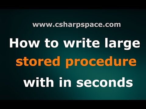How to write large sql stored procedure with in seconds