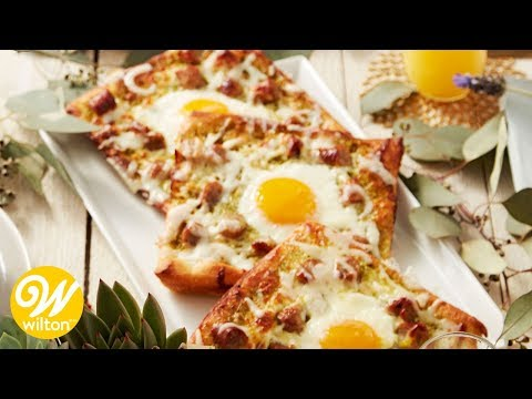 Sausage and Pesto Breakfast Egg Pizza Recipe | Wilton