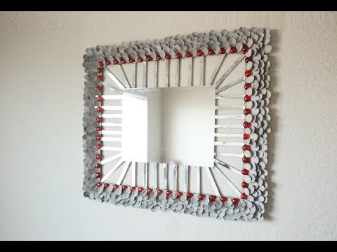 DIY Decorative Metallic Mirror with Cereal Boxes and Egg Cartoon, DIY Wall Decor