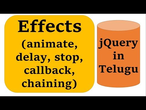 Other Effects(animate, delay, chaining, callback, stop) in jQuery in Telugu by Kotha Abhishek