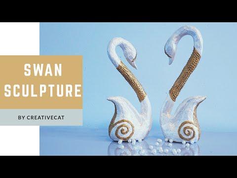 DIY Swan Couple Sculpture Home Decor using Cardboard box and Papier Mache