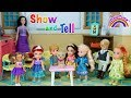 Download Video Download SHOW and TELL ! Elsa & Anna toddlers at school  -Puppy Dog - Barbie is teacher-games - classroom 3GP MP4 FLV