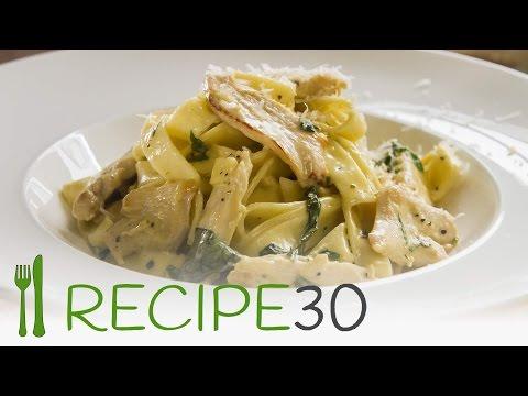 Chicken fettucine Alfredo with cream basil sauce