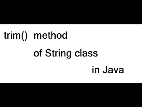 trim() method of String class in Java