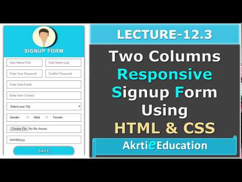 How To Design Responsive Signup Form Using HTML and CSS Lectures - Part 3