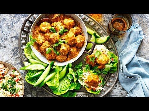 Korma Chicken Meatballs in Lettuce Cups