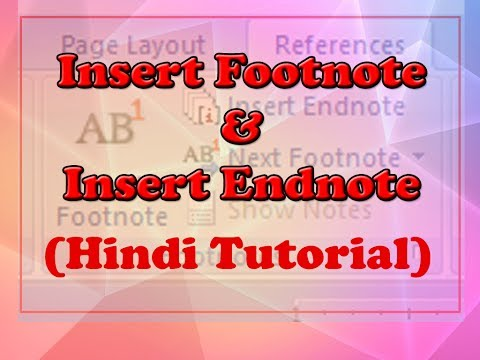 Insert Footnotes and Endnotes Microsoft Office Word 2007/2010 Tutorial in Hindi