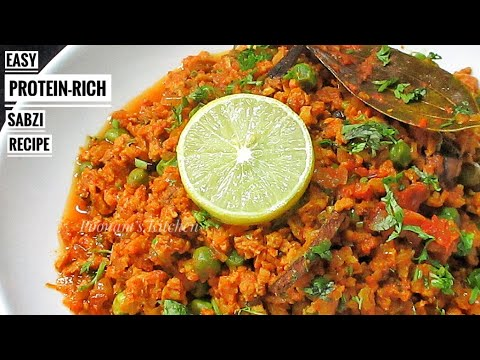 Soya Keema Matar Recipe/Easy Protein-rich Sabzi Recipe - How to make Soya Bean Keema Recipe in Hindi