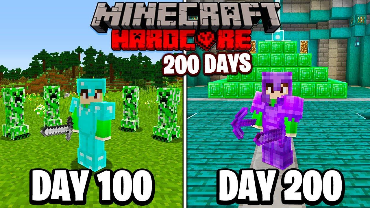 I Survived 200 Days in HARDCORE Minecraft...