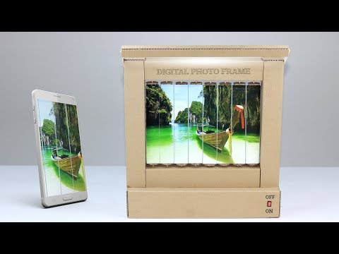 How To Make Auto Digital Photo Frame With Light From Cardboard At Home