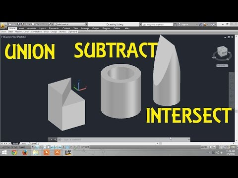 Union,Subtract,Intersect commands in AutoCAD By Engineer AutoCAD Tutorials