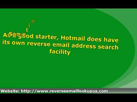 Reverse Email Address Finder - Hotmail Email Addresses