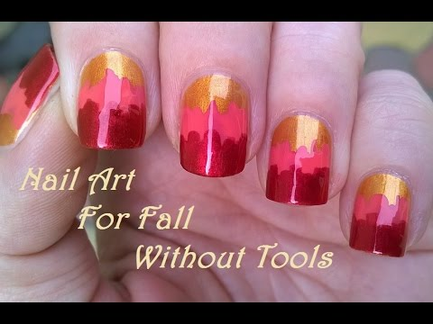 No Tool FALL NAIL ART - How To: Easy Tricolor Nails