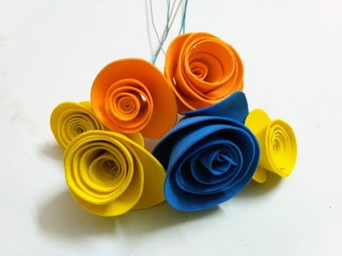 How to make Rolled Paper Roses Quick & Easy Tutorial With Foam Paper