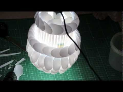 How To Make Your Own DIY Lamp Made From Plastic Spoons