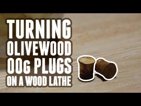 Turning Olivewood 00g Plugs On A Wood Lathe