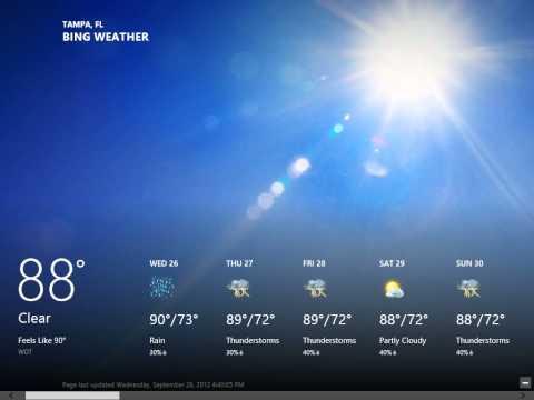 Windows 8.0 Professional - Navigate the Weather App