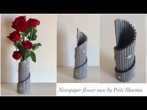 Newspaper Flower Vase DIY Newspaper Pen Holder / Newspaper Crafts / Best Out Of Waste   Priti Sharma