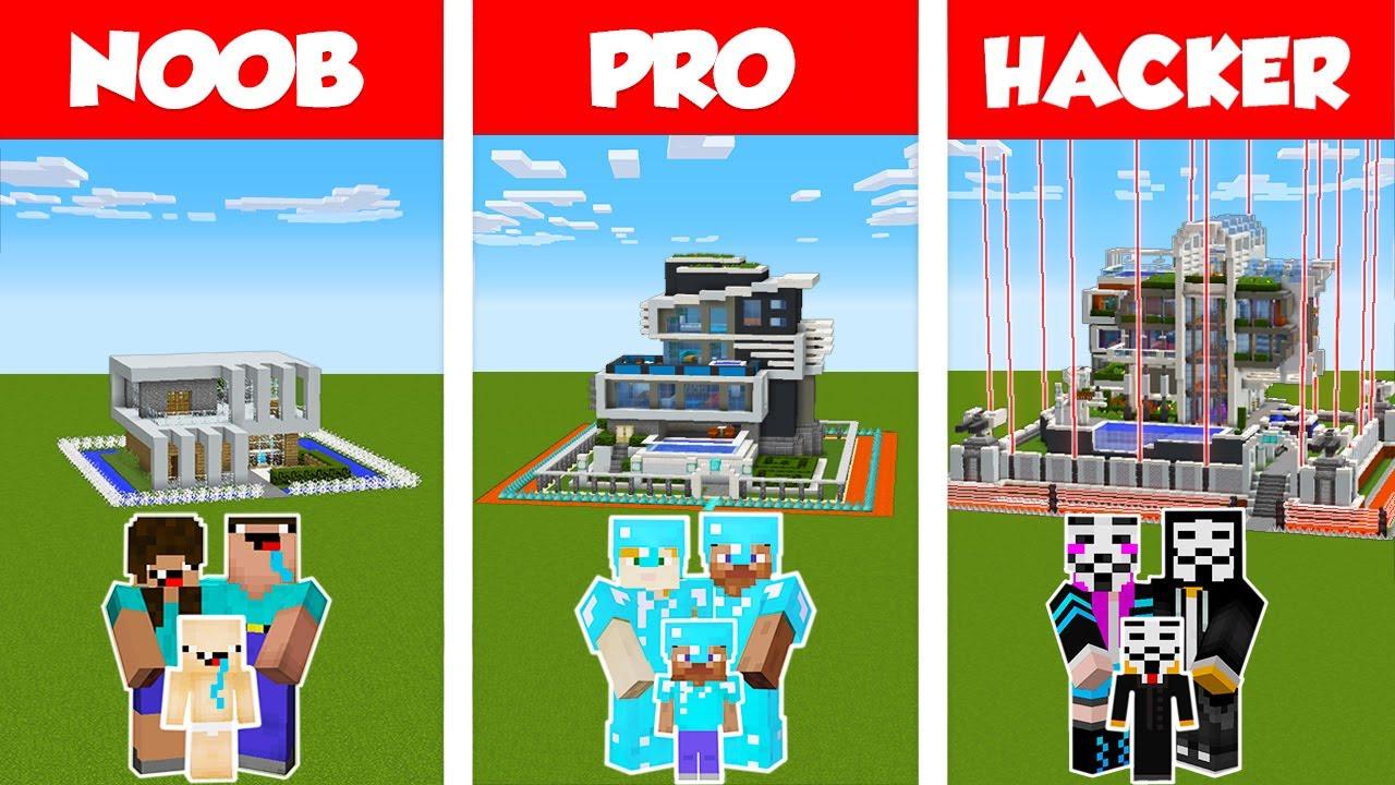 Minecraft NOOB vs PRO vs HACKER: SAFEST MODERN FAMILY HOUSE 2 - BUILD CHALLENGE / Animation