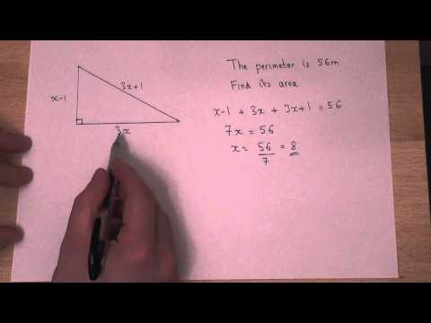 Algebra and Triangles : solving equations linked to perimeter and area