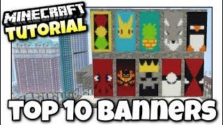 Minecraft - TOP 10 BANNERS - Tutorial ( PS4 / PE / PS3 / XBOX / WII U ) -  getplaypk
