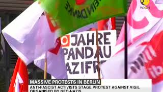 Protest in Berlin: Anti-fascist activists protest against vigil organised by Neo-Nazis
