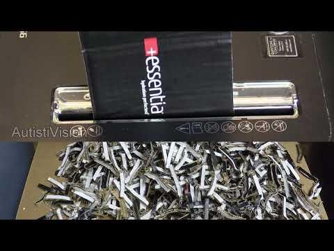 Shredding corrugated cardboard in a paper shredder part 2 - ASMR - Satisfying