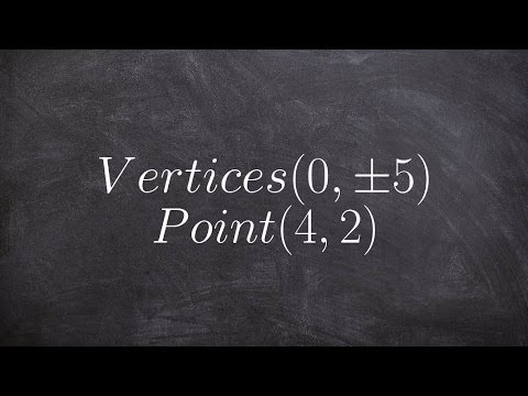 Write the equation of an ellipse with the given vertices & passes through a point