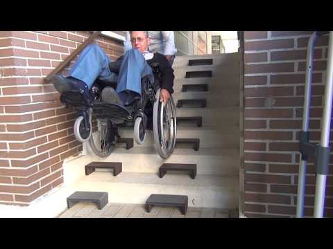 Wheelchair Climbing Stairs Easier by W&R STEPS (hand truck, cart, trolley, baby pushchair...)