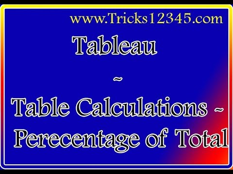 Tableau: Table Calculations  - Percentage of Total