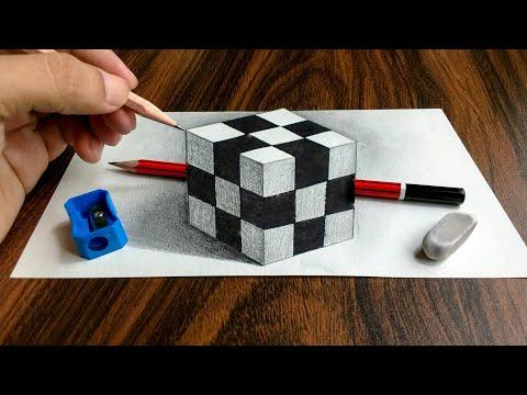3D Trick Art on Paper Realistic Cube