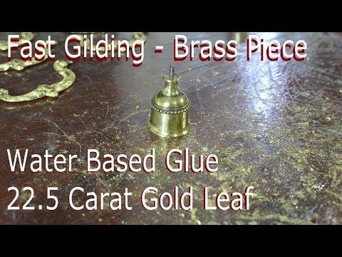Fast Gilding Brass Piece - Water Based Glue - 22.5 Carat Gold Leaf