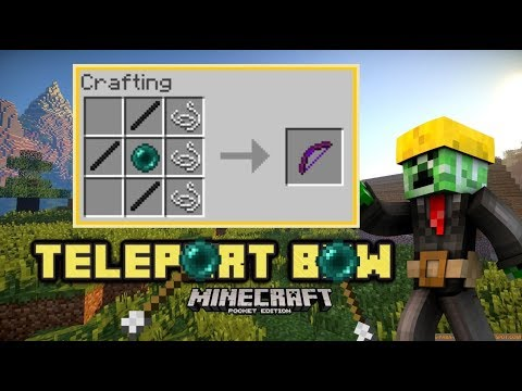 MCPE Teleport BOW using Command blocks! Tutorial (Minecraft Pocket edition)